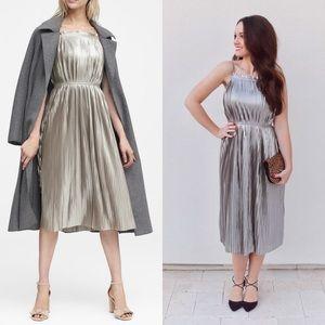 Banana Republic Metallic Pleated Cocktail Dress